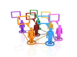 Network Of 3d People For Online Group Discussion Stock Photo