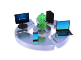 Network Of Computer Devices Around Dollar Sign Stock Photo