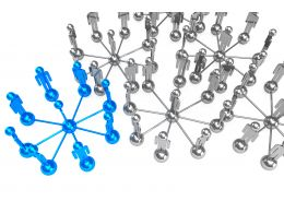 Network With Blue Part For Leadership Stock Photo