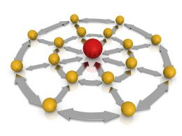 Network With Leader At The Center Concept Red Ball Stock Photos