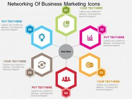 Networking Of Business Marketing Icons Flat Powerpoint Design