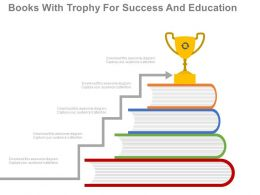new Books With Trophy For Success And Education Flat Powerpoint Design