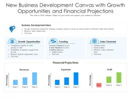 New Business Development Canvas With Growth Opportunities And Financial Projections