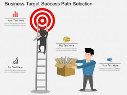 new Business Target Success Path Selection Flat Powerpoint Design