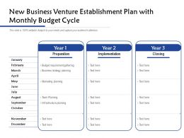 New Business Venture Establishment Plan With Monthly Budget Cycle