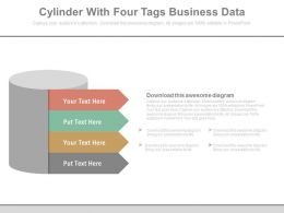 new_cylinder_with_four_tags_for_business_data_flat_powerpoint_design_Slide01