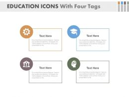 new Education Icons With Four Tags Flat Powerpoint Design