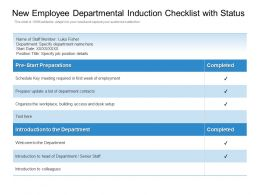 New Employee Departmental Induction Checklist With Status
