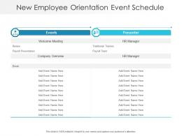 New Employee Orientation Event Schedule