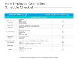 New Employee Orientation Schedule Checklist
