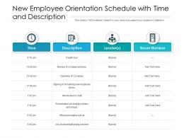New Employee Orientation Schedule With Time And Description