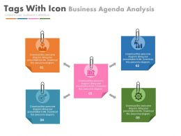 new Five Colored Tags With Icons For Business Agenda Analysis Flat Powerpoint Design
