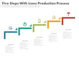 new Five Steps With Icons Production Process Flat Powerpoint Design