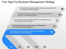 new Five Tags For Business Management Strategy Powerpoint Template