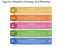 new Five Tags For Education Strategy And Planning Flat Powerpoint Design