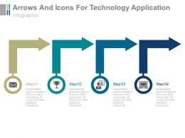 new Four Arrows And Icons For Technology Application Flat Powerpoint Design