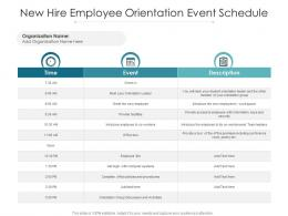 New Hire Employee Orientation Event Schedule