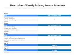 New Joiners Weekly Training Lesson Schedule