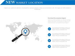 New Market Search Diagram With World Map Powerpoint Slides