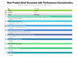 New Product Brief Document With Performance Characteristics