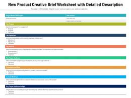 New Product Creative Brief Worksheet With Detailed Description
