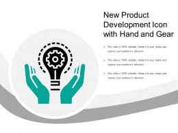 New Product Development Icon With Hand And Gear