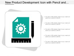 New Product Development Icon With Pencil And Gear Sign