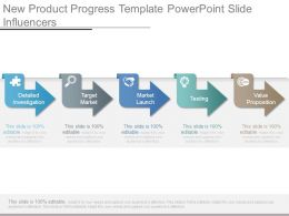 New Product Progress Template Powerpoint Slide Influencers