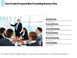 New Product Proposal Man Presenting Business Plan