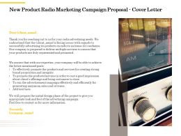 New Product Radio Marketing Campaign Proposal Cover Letter Ppt Powerpoint Outline Show
