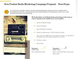 New Product Radio Marketing Campaign Proposal Next Steps Ppt Powerpoint Icon Images
