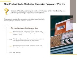 New Product Radio Marketing Campaign Proposal Why Us Ppt Powerpoint Guidelines
