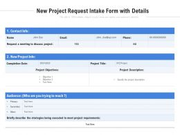 New Project Request Intake Form With Details