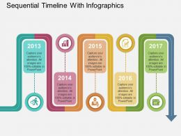 new Sequential Timeline With Infographics Flat Powerpoint Design