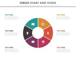 new Six Staged Circle Chart And Icons For Global Business Strategy Flat Powerpoint Design