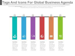 new Six Staged Tags And Icons For Global Business Agenda Flat Powerpoint Design
