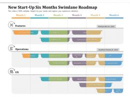 New Start Up Six Months Swimlane Roadmap