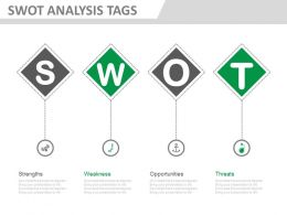 new Swot Analysis Tags With Icons Flat Powerpoint Design