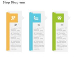 new Three Steps For Financial Strategy And Communication Flat Powerpoint Design