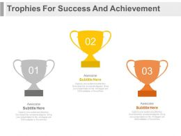 new Three Trophies For Success And Achievement Strategy Flat Powerpoint Design