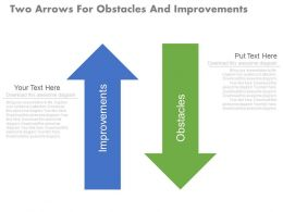 new Two Arrows For Obstacles And Improvements Flat Powerpoint Design