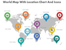 new World Map With Location Chart And Icons Flat Powerpoint Design