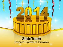 New Year 2014 On Golden Podium PowerPoint Templates PPT Backgrounds For Slides 1113