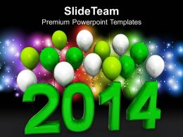 New Year 2014 With Balloons PowerPoint Templates PPT Backgrounds For Slides 1113