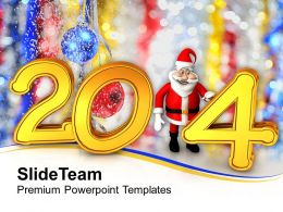 New Year 2014 With Santa PowerPoint Templates PPT Backgrounds For Slides 1113