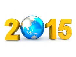 New Year 2015 With Globe Stock Photo