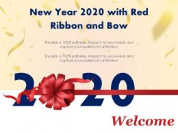 New Year 2020 With Red Ribbon And Bow Ppt Samples