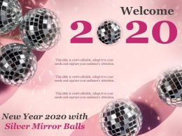 New Year 2020 With Silver Mirror Balls Ppt Styles