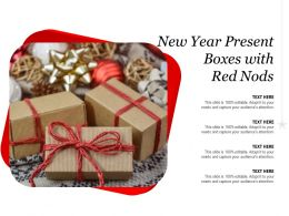 New Year Present Boxes With Red Nods