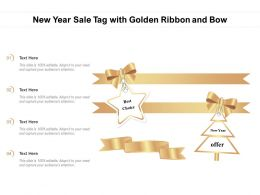 New Year Sale Tag With Golden Ribbon And Bow